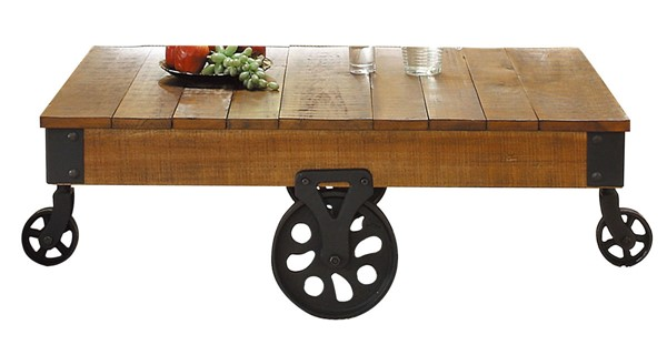 Home Elegance Factory Cocktail Table with Wheels HE-3228-30