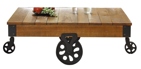 Factory Modern Rustic Brown Wood Cocktail Table With Functional Wheels HE-3228-30