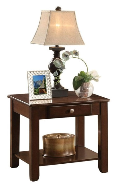 Home Elegance Ballwin Cherry End Table with Drawer HE-3256RF-04