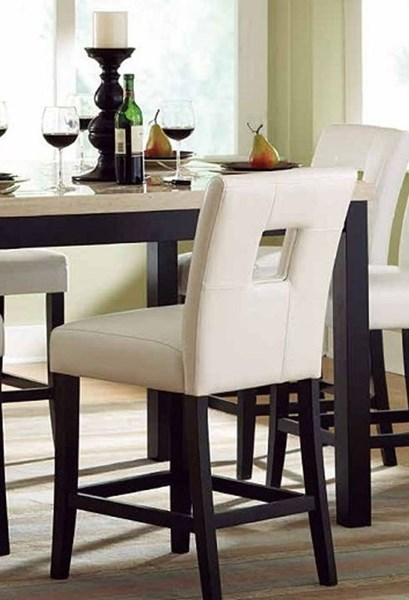2 Archstone White Wood Vinyl Counter Height Chairs HE-3270-24S1W