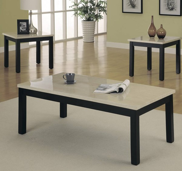 Archstone Black White Faux Marble Top 3-Piece Occasional Table HE-3270-31