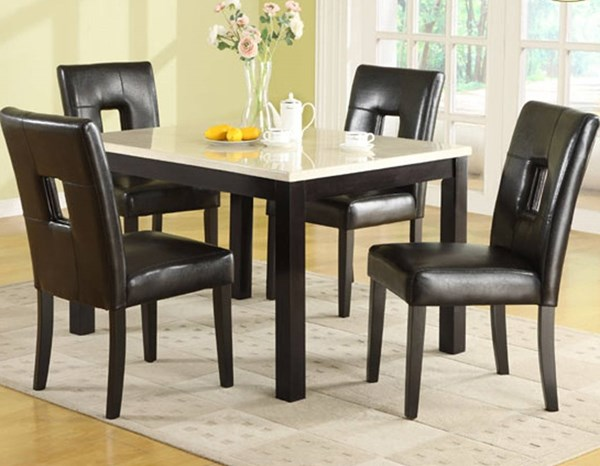 Archstone White Wood Faux Marble Vinyl 5pc Dining Room Set HE-3270-48-S