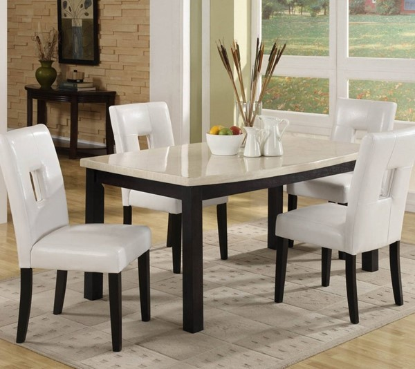 Archstone Black White Wood Faux Marble Dining Room Set HE-3270DR