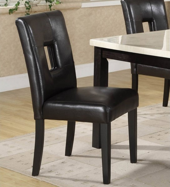 2 Archstone Black White Wood Vinyl Keyhole Back Side Chairs HE-3270-SC-VAR