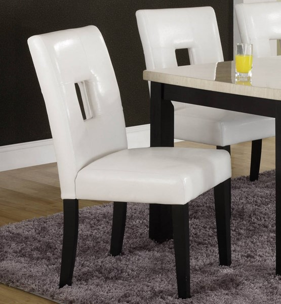 2 Archstone White Wood Vinyl Side Chairs HE-3270-S1W