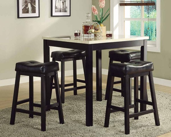 Archstone Espresso Wood 5pc Pack Counter Height Set w/Faux Marble Top HE-3270