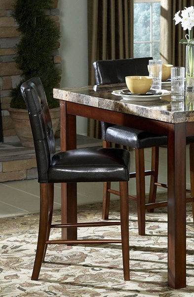 2 Achillea Cherry Black Wood Upholstered Vinyl Counter Height Chairs HE-3273-24