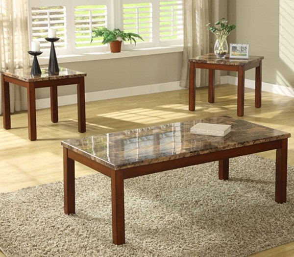 Achillea Contemporary Wood Faux Marble Top 3-Piece Occasional Table HE-3273-31