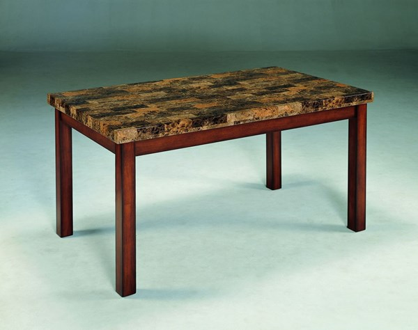 Achillea Transitional Cherry Wood Faux Marble Dining Table HE-3273-60