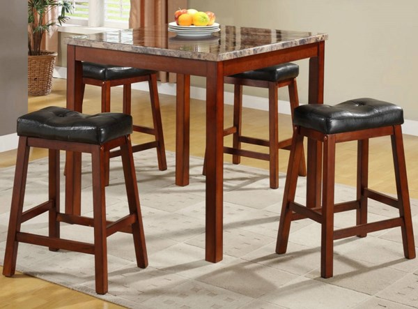 Achillea Cherry Wood 5-Piece Pack Counter Height Set w/Faux Marble Top HE-3273