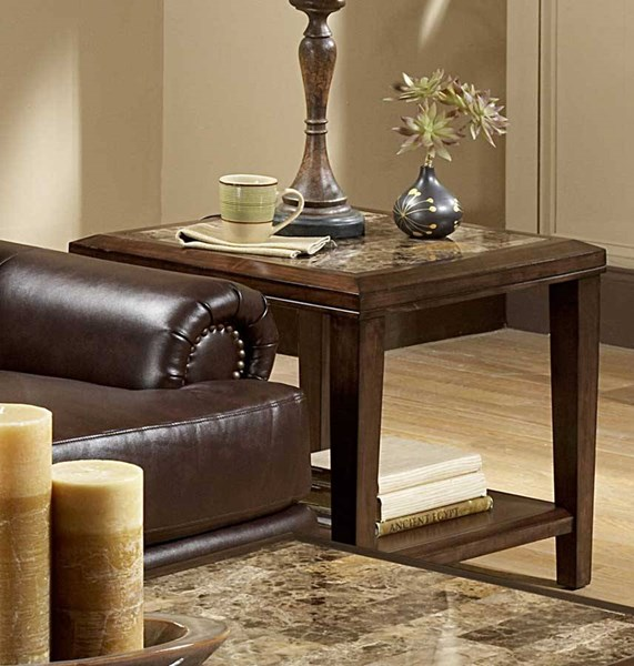 Belvedere Espresso Wood Faux Marble Inlay End Table HE-3276-04
