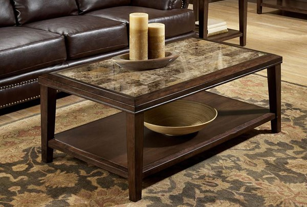 Belvedere Espresso Wood Faux Marble Inlay Cocktail Table HE-3276-30