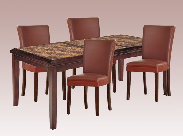 Home Elegance Belvedere Lava Red 5pc Dining Room Set HE-3276-78-set3