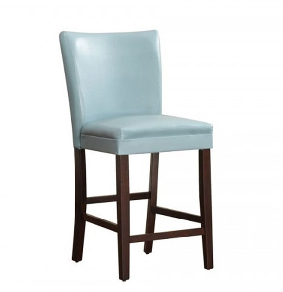 2 Belvedere Espresso Wood Sky Blue Vinyl Counter Height Chairs HE-3276B-24