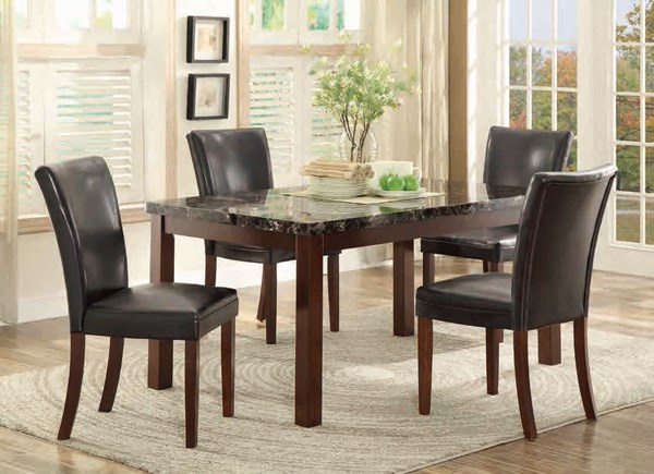 Belvedere II Espresso Wood Faux Marble 5pc Dining Room Set HE-3276N-60-DR-S