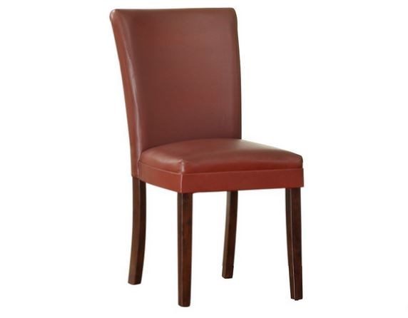 2 Belvedere Espresso Wood Lava Red Vinyl Side Chairs HE-3276RS