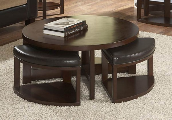 Brussel II Warm Brown Cherry Wood Cocktail Table w/4 Ottomans HE-3292-01