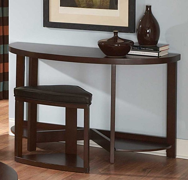 Brussel II Warm Brown Cherry Wood Sofa Table w/1 Ottoman HE-3292-05