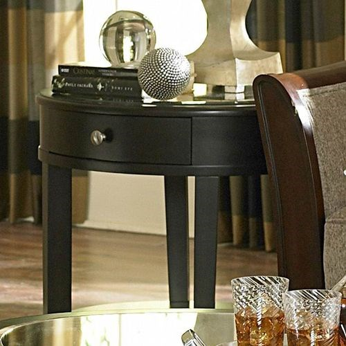Brooksby Classic Ebonized Cherry Wood Mirror Top Drawer End Table HE-3295-04