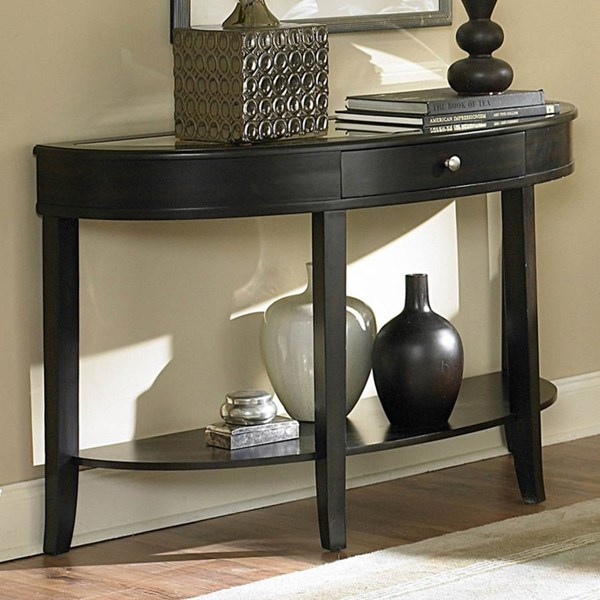 Brooksby Classic Ebonized Cherry Wood Mirror Top Drawer Sofa Table HE-3295-05