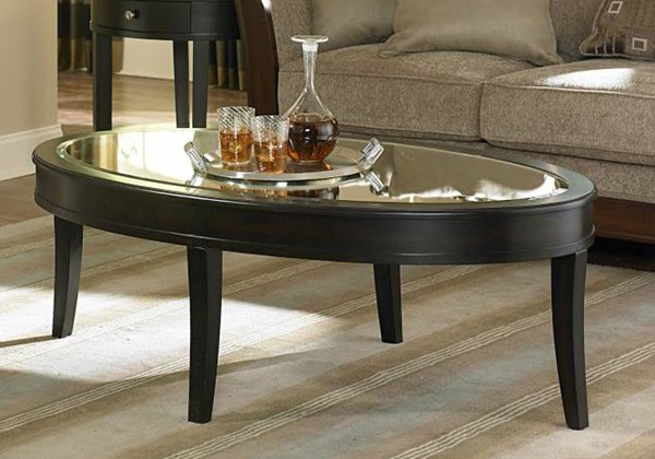 Brooksby Classic Ebonized Cherry Wood Mirror Top Cocktail Table HE-3295-30
