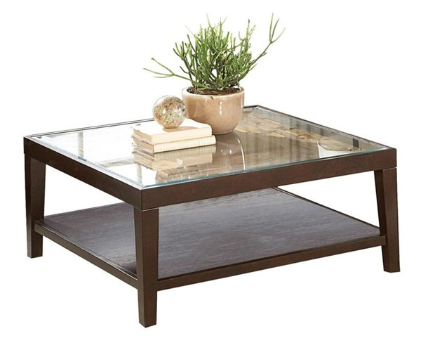 Home Elegance Vincent Espresso Cocktail Table with Glass Insert HE-3299-01