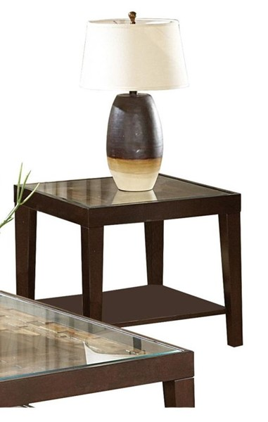 Home Elegance Vincent Espresso End Table with Glass Insert HE-3299-04