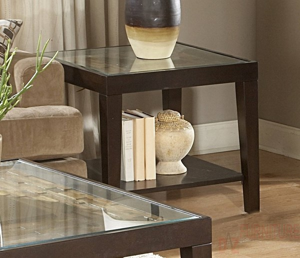 Vincent Modern Espresso Wood Glass Insert End Table HE-3299-04