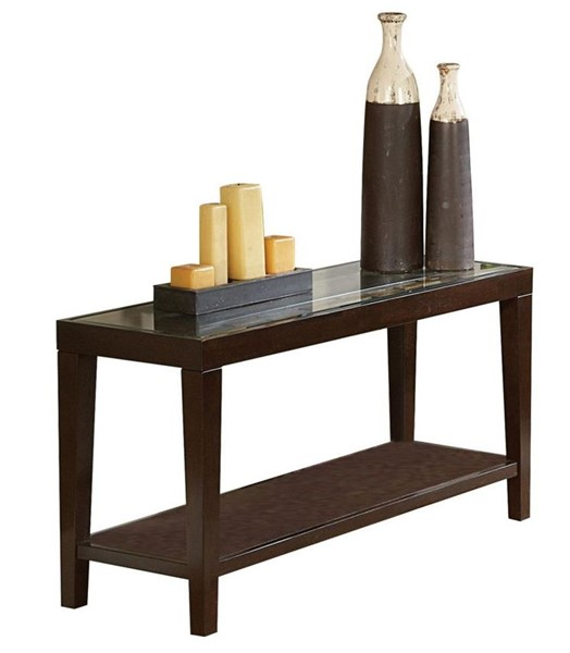 Home Elegance Vincent Espresso Sofa Table with Glass Insert HE-3299-05