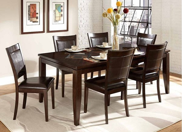 Vincent Contemporary Chocolate Dark Brown Wood 5pc Dining Room Set HE-3299-78-set