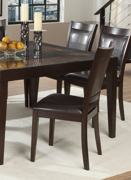 2 Vincent Chocolate Dark Brown Wood Side Chairs HE-3299S