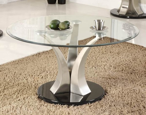Charlaine Black Silver Metal Glass Top Round Cocktail Table HE-3400-01