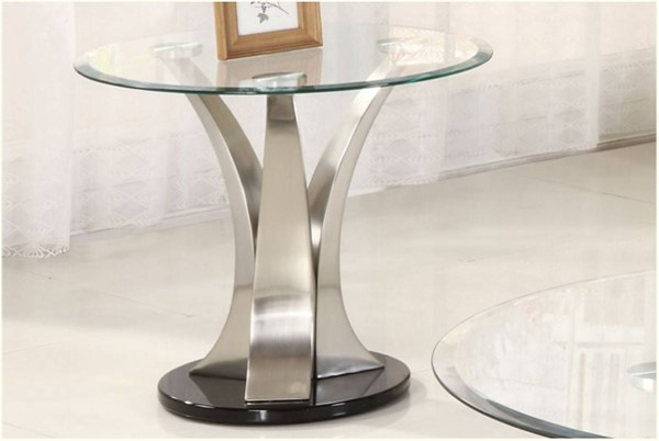 Home Elegance Charlaine Round End Table with Glass Top HE-3400-04