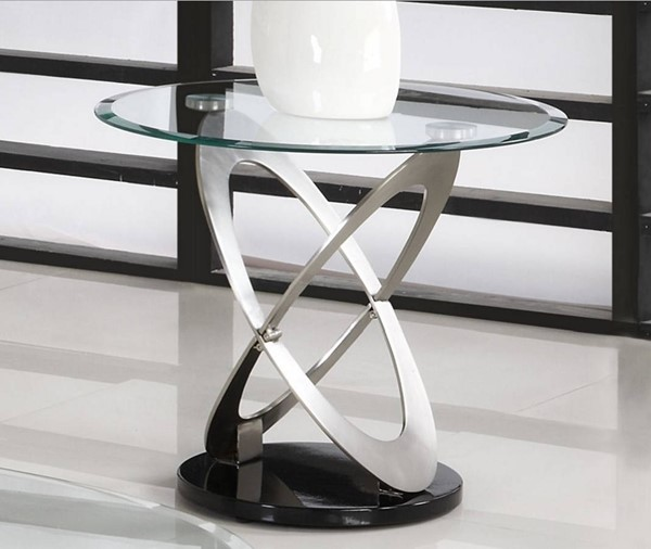 Firth Black Silver Metal Glass Top Round End Table HE-3401-04
