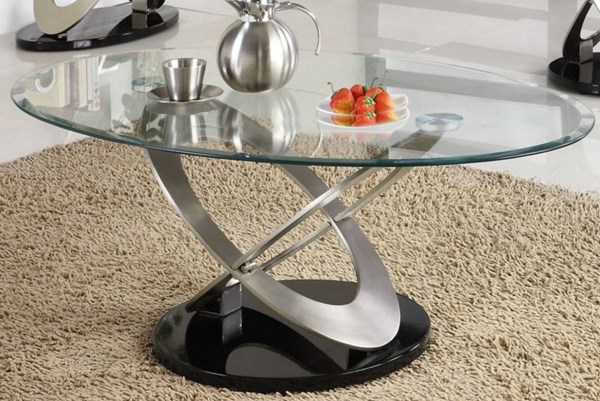 Firth Black Silver Metal Glass Top Cocktail Table HE-3401-30