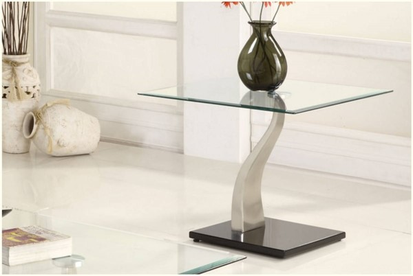 Atkins Contemporary Chrome Metal Glass Top Square End Table HE-3402-04