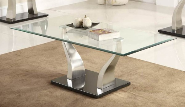 Home Elegance Atkins Chrome Cocktail Table with Glass Top HE-3402-30
