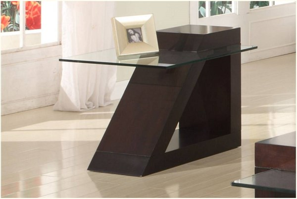 Jensen Contemporary Espresso Wood Glass Top End Table HE-3422-04