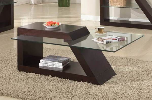 Jensen Contemporary Espresso Wood Glass Top Cocktail Table HE-3422-30