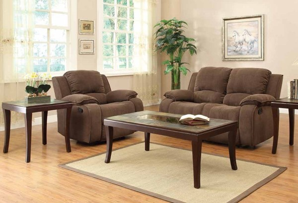 Duane Transitional Brown Wood Glass 3pc Occasional Tables HE-3433-31