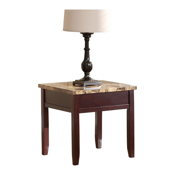 Home Elegance Orton Rich Cherry End Table with Faux Marble Top HE-3447-04