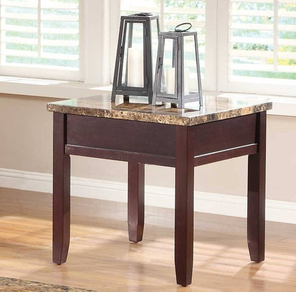 home elegance orton rich cherry end table with faux marble top the classy home. Black Bedroom Furniture Sets. Home Design Ideas