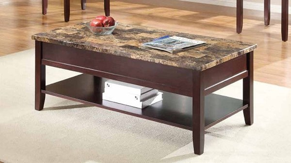 Orton Casual Rich Cherry Wood Faux Marble Top Lift Top Cocktail Table HE-3447-30