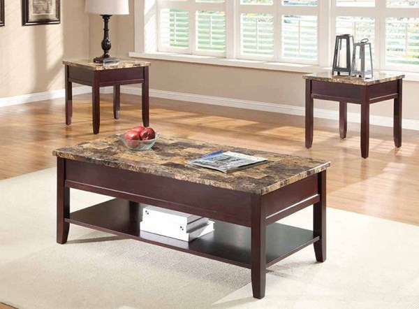 Orton Casual Rich Cherry Wood Faux Marble Top 3pc Coffee Table Set HE-3447-OCT-S