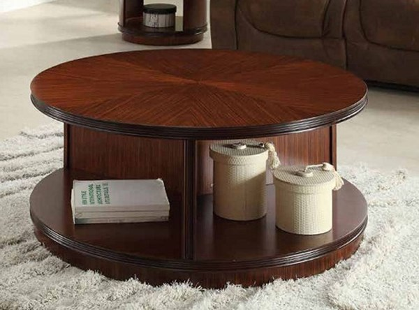 Orlin Contemporary Cherry Wood Round Casters Cocktail Table HE-3448-01