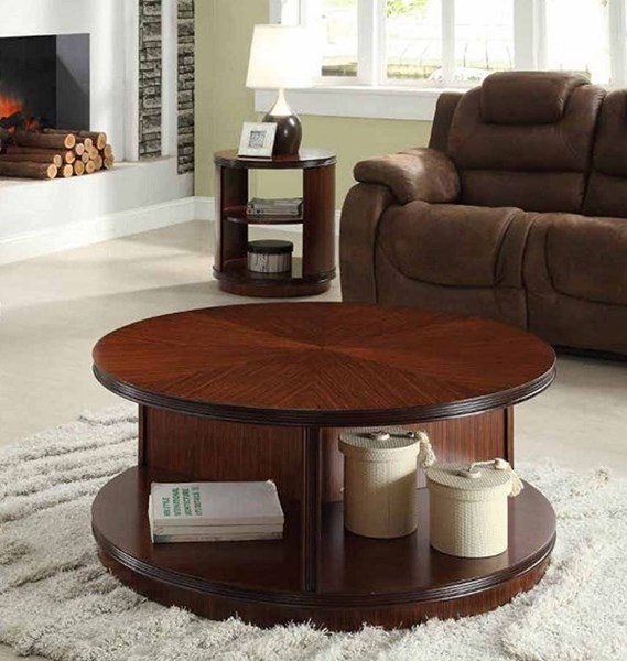 Orlin Contemporary Cherry Wood 3pc Coffee Table Set HE-3448-OCT-S