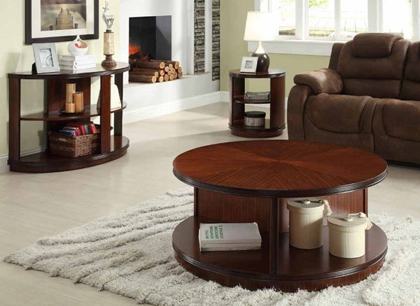 Orlin Contemporary Cherry Wood Coffee Table Set HE-3448-OCT