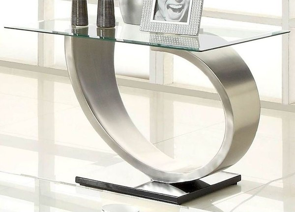 Home Elegance Silvera End Table with Glass Top HE-3449-04