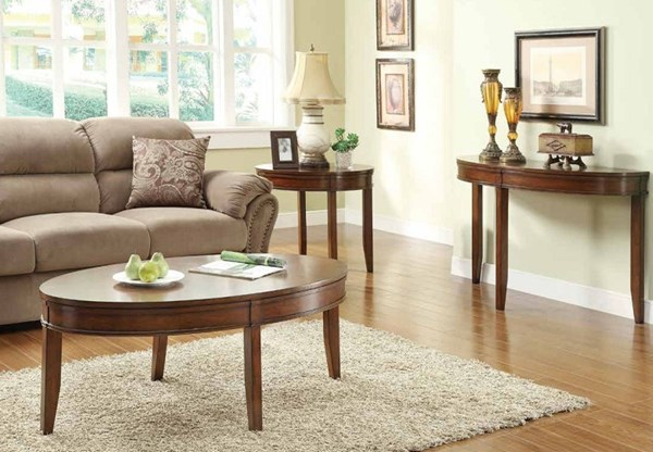 Parrish Cherry Wood Legs Coffee Table Set HE-3458-OCT