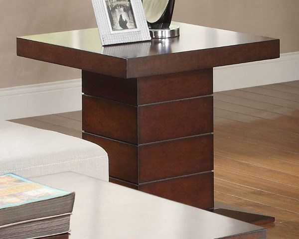 Nast Contemporary Cherry Wood Square End Table HE-3467-04